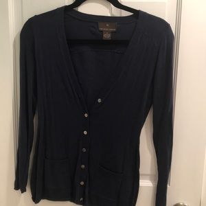 Navy Blue V-Neck Cardigan